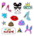 Trendy fashionable pins patches labels stickers