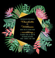 tropical wedding invitation with geometric frame vector image
