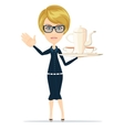 Waitress Slender girl carrying a tray with tea vector image