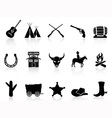 wild west cowboys icons set vector image vector image