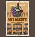 wine bottle and barrel winemaking and winery vector image vector image
