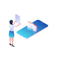 woman reads annotation online book isometric
