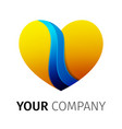 Yellow and blue heart logo design ribbon