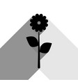 flower sign black icon with vector image