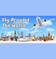 airplane flying and travel around world banner vector image vector image
