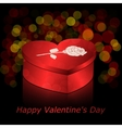Box in heart shape red with gold and rose on a vector image vector image