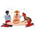 boy blowing candles on cake birthday party vector image