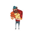cartoon man character holding stack of logs funny vector image vector image
