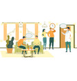 cartoon people wait in chairs in hospital hall vector image vector image