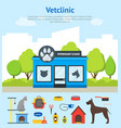 cartoon veterinary clinic building card poster and vector image