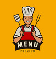 chef cook logo or label menu design for cafe and vector image
