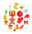 christmas icons set in cartoon style vector image vector image