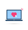 click on heart button with laptop vector image vector image