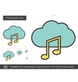 Cloud music line icon vector image vector image