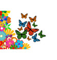 colorful spring flowers with butterfly vector image vector image