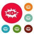 comic boom big icons circle set vector image vector image