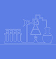 continuous one line chemical lab retorts vector image