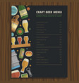 craft beer menu template for bar and restaraunt vector image vector image