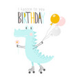 cute crocodile with balloons and flower on rollers vector image