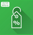 discount percent tag icon in flat style price vector image vector image
