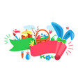 easter festive ribbon concept with rabbit wicker vector image vector image