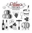 elegant wine set vintage elements isolated vector image