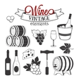 Ellegant wine set of vintage elements isolated on vector image