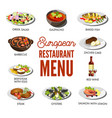 european restaurant menu with popular delicious vector image vector image