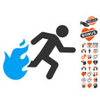 fired running man icon with valentine bonus vector image