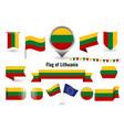 flag lithuania big set icons and vector image vector image