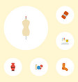 flat icons knitted socks shop pottery and other vector image