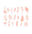 floral flat leaves set white vector image vector image
