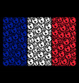 french flag collage of earth items vector image