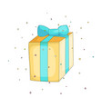 fun cartoon gift box with blue ribbon icon closed vector image