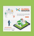 global navigation flat 3d isometric mobile gps vector image vector image