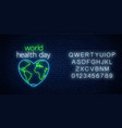 glowing neon medicine concept sign with map vector image vector image