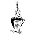 Grungy hand drawn ink cup with steam roasted beans vector image