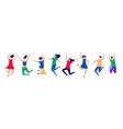 happy flying and jumping people characters vector image