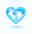 heart with world map vector image vector image