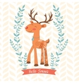Hello spring concept card with deer vector image vector image