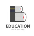 initial b education book logo vector image