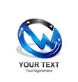 initial letter w logo template colored black blue vector image vector image