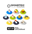 Isometric flat icons set 59 vector image vector image