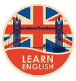 logo or icon with big ben for learn english vector image