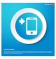 mobile phone icon abstract blue web sticker button vector image