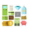 money in cash and other precious savers poster on vector image vector image