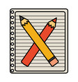 notebook with school pencil and color vector image