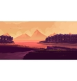 Of Night Landscape Mountains Sunset vector image