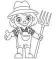 outlined young farmer vector image vector image