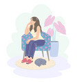 pensive young woman sitting in armchair and vector image